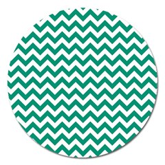 Emerald Green And White Zigzag Magnet 5  (round)