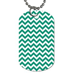 Emerald Green And White Zigzag Dog Tag (One Sided)