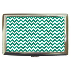 Emerald Green And White Zigzag Cigarette Money Case