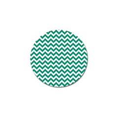 Emerald Green And White Zigzag Golf Ball Marker