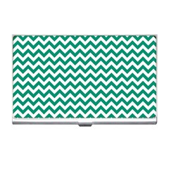 Emerald Green And White Zigzag Business Card Holder