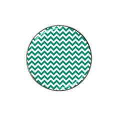 Emerald Green And White Zigzag Golf Ball Marker (for Hat Clip)