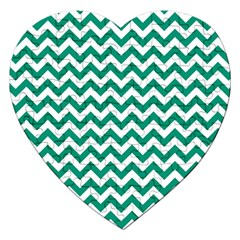 Emerald Green And White Zigzag Jigsaw Puzzle (heart)