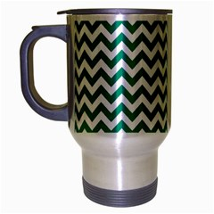 Emerald Green And White Zigzag Travel Mug (silver Gray)