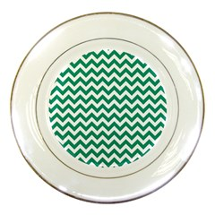 Emerald Green And White Zigzag Porcelain Display Plate