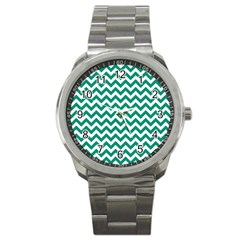 Emerald Green And White Zigzag Sport Metal Watch