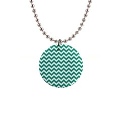 Emerald Green And White Zigzag Button Necklace