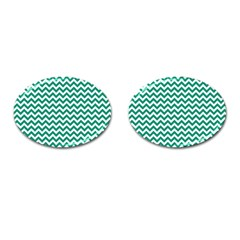 Emerald Green And White Zigzag Cufflinks (oval)