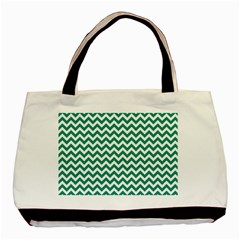 Emerald Green And White Zigzag Classic Tote Bag