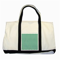 Emerald Green And White Zigzag Two Toned Tote Bag