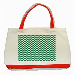 Emerald Green And White Zigzag Classic Tote Bag (Red)