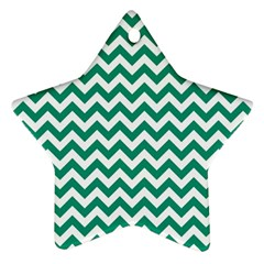 Emerald Green And White Zigzag Star Ornament (Two Sides)