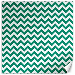 Emerald Green And White Zigzag Canvas 12  X 12  (unframed)