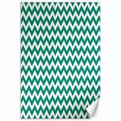 Emerald Green And White Zigzag Canvas 12  x 18  (Unframed)