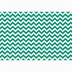 Emerald Green And White Zigzag Canvas 24  X 36  (unframed)