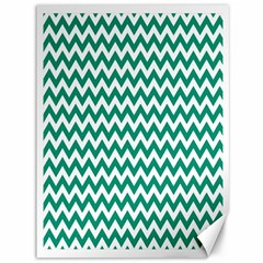 Emerald Green And White Zigzag Canvas 36  x 48  (Unframed)
