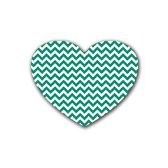 Emerald Green And White Zigzag Drink Coasters 4 Pack (heart)