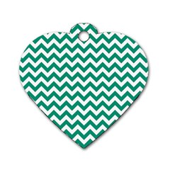 Emerald Green And White Zigzag Dog Tag Heart (Two Sided)