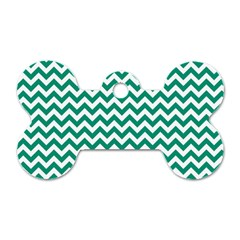 Emerald Green And White Zigzag Dog Tag Bone (Two Sided)