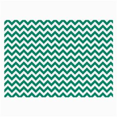 Emerald Green And White Zigzag Glasses Cloth (Large, Two Sided)