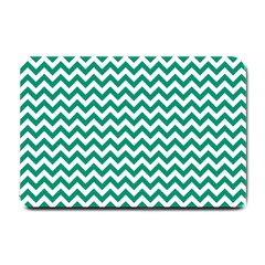 Emerald Green And White Zigzag Small Door Mat