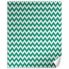 Emerald Green And White Zigzag Canvas 11  X 14  (unframed)