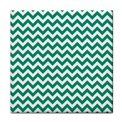 Emerald Green And White Zigzag Face Towel