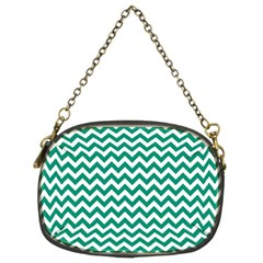 Emerald Green And White Zigzag Chain Purse (two Sided)