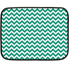 Emerald Green And White Zigzag Mini Fleece Blanket (two Sided)