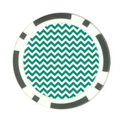 Emerald Green And White Zigzag Poker Chip (10 Pack)