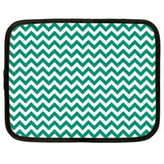 Emerald Green And White Zigzag Netbook Sleeve (xl)