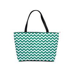 Emerald Green And White Zigzag Large Shoulder Bag