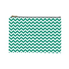 Emerald Green And White Zigzag Cosmetic Bag (large)