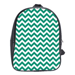 Emerald Green And White Zigzag School Bag (Large)