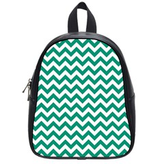 Emerald Green And White Zigzag School Bag (small)