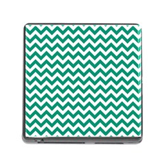 Emerald Green And White Zigzag Memory Card Reader with Storage (Square)
