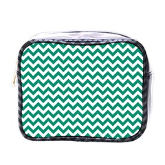 Emerald Green And White Zigzag Mini Travel Toiletry Bag (one Side)