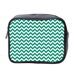 Emerald Green And White Zigzag Mini Travel Toiletry Bag (two Sides)