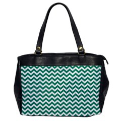 Emerald Green And White Zigzag Oversize Office Handbag (one Side)