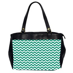 Emerald Green And White Zigzag Oversize Office Handbag (two Sides)