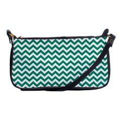 Emerald Green And White Zigzag Evening Bag