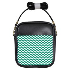 Emerald Green And White Zigzag Girl s Sling Bag