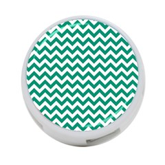 Emerald Green And White Zigzag 4-Port USB Hub (Two Sides)