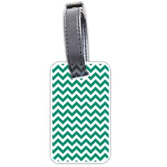 Emerald Green And White Zigzag Luggage Tag (One Side)