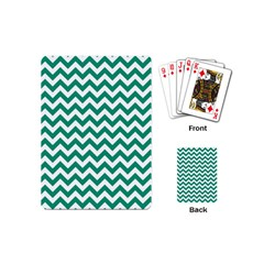 Emerald Green And White Zigzag Playing Cards (Mini)