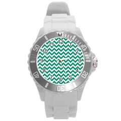 Emerald Green And White Zigzag Plastic Sport Watch (Large)