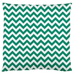 Emerald Green And White Zigzag Large Cushion Case (Two Sided)