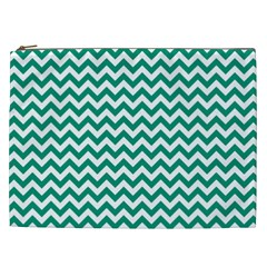 Emerald Green And White Zigzag Cosmetic Bag (XXL)