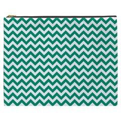 Emerald Green And White Zigzag Cosmetic Bag (XXXL)