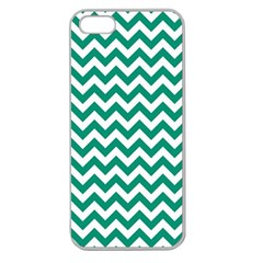 Emerald Green And White Zigzag Apple Seamless Iphone 5 Case (clear)